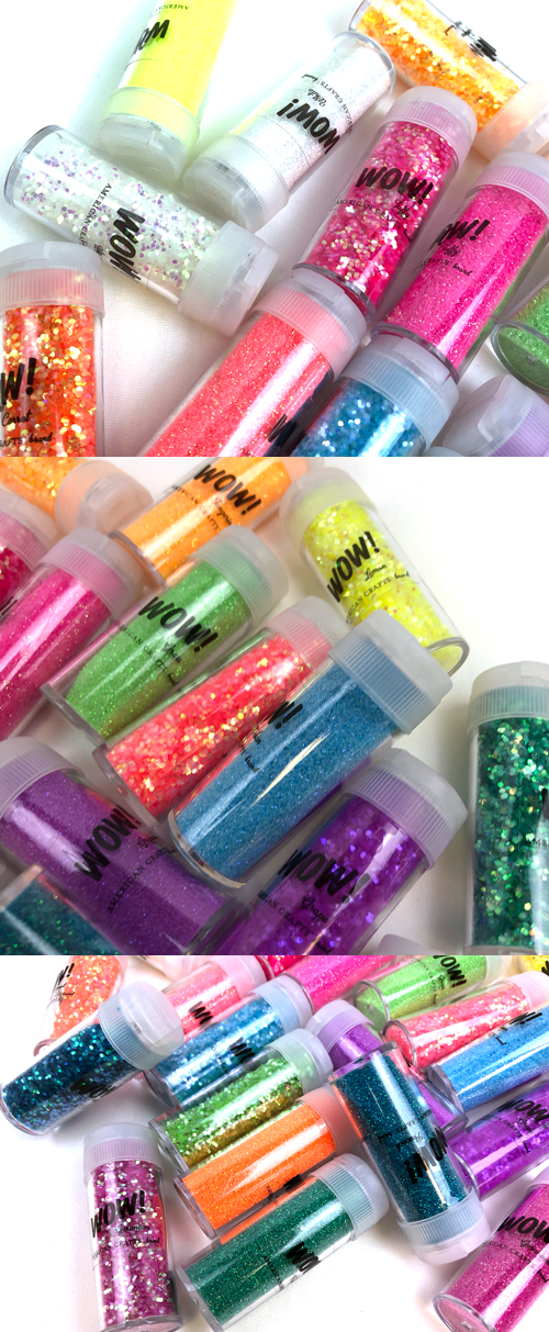Neon Glitter by American Crafts Includes 12 bottles of fine glitter and 12 bottles of chunky glitter in assorted colors Wow 24 pack
